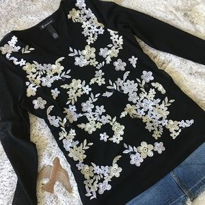 INC Black With White Floral Embroidery Size Large